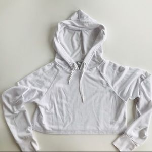 Crop Top Hoodie • White • French Terry
